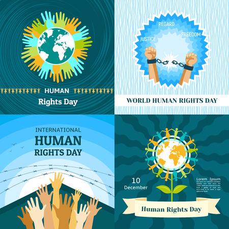 Rights Day banner set. Flat illustration of Rights Day banner set for web design Stock Photo