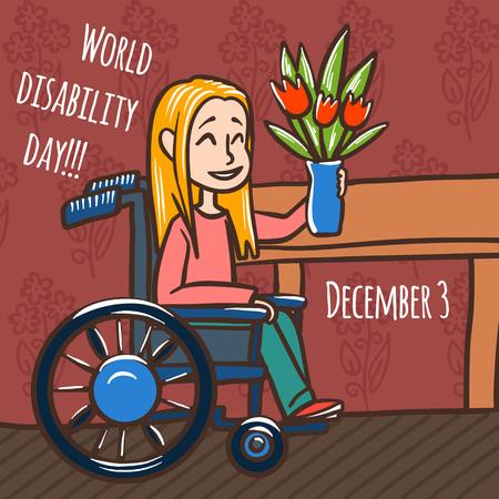 World disability day woman wheelchair concept background. Hand drawn illustration of world disability day woman wheelchair concept background for web design Stok Fotoğraf