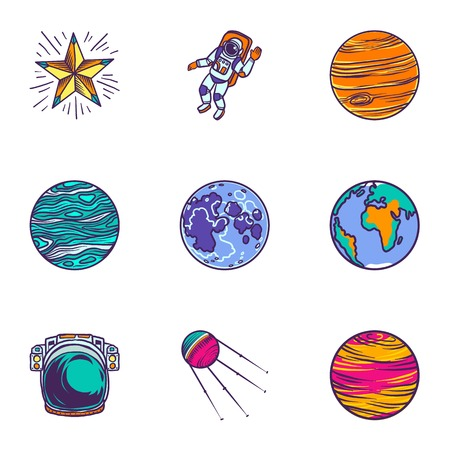 Space universe icon set. Hand drawn set of 9 space universe icons for web design isolated on white background