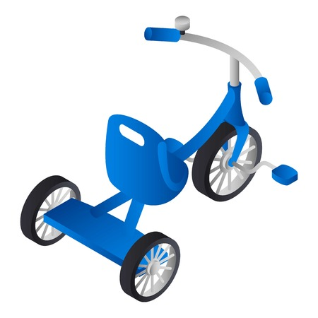 Blue boy tricycle icon. Isometric of blue boy tricycle icon for web design isolated on white background