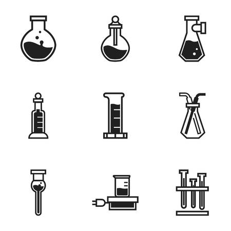 Glass chemical flask icon set. Simple set of 9 glass chemical flask icons for web design isolated on white background