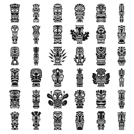 Tiki idols icon set. Simple set of tiki idols icons for web design on white background