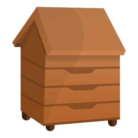 Bee house icon. Cartoon of bee house icon for web design isolated on white background