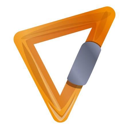 Triangular carabine icon. Cartoon of triangular carabine icon for web design isolated on white background