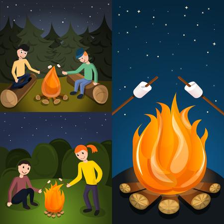 Campfire marshmallow banner set. Cartoon illustration of campfire marshmallow banner set for web design