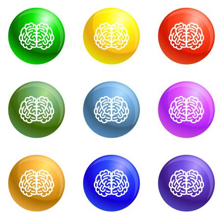 Front side brain icons vector 9 color set isolated on white background for any web design