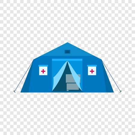 Icona dell'ospedale da campo. Illustrazione piana dell'icona vettoriale dell'ospedale da campo per il web design