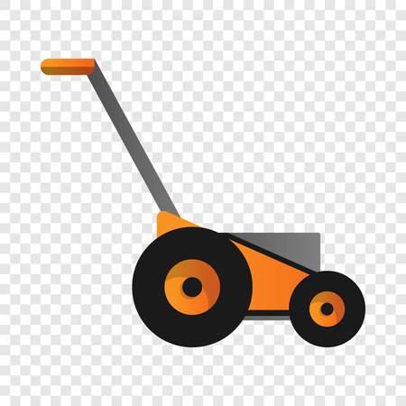 Orange lawnmower icon. Cartoon of orange lawnmower vector icon for web design for web design