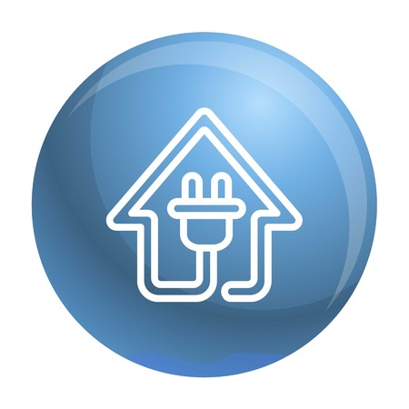 Eco house plug icon. Outline eco house plug icon for web design isolated on white background Imagens