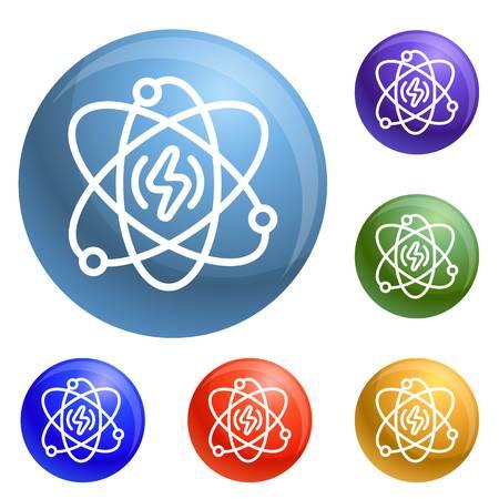 Energie Atom Icons Set 6 Farbe isoliert auf weißem Hintergrund