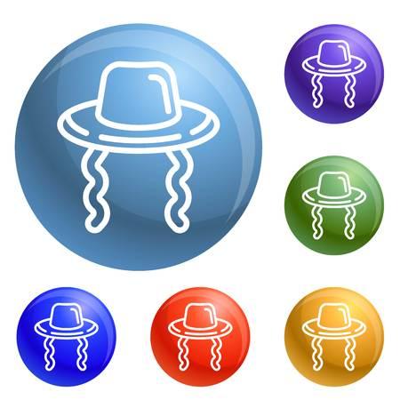 Jewish hat icons set 6 color isolated on white background