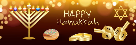 Happy hanukkah banner. Realistic illustration of Happy hanukkah banner for web design Stock Photo