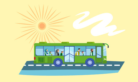 Bus refugee people concept banner. Flat illustration of bus refugee people concept banner for web design Banco de Imagens