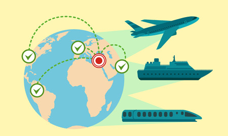 Migrant global transport concept banner. Flat illustration of migrant global transport concept banner for web design