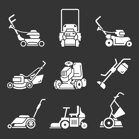 Lawnmower icon set. Simple set of lawnmower icons for web design on gray background Imagens