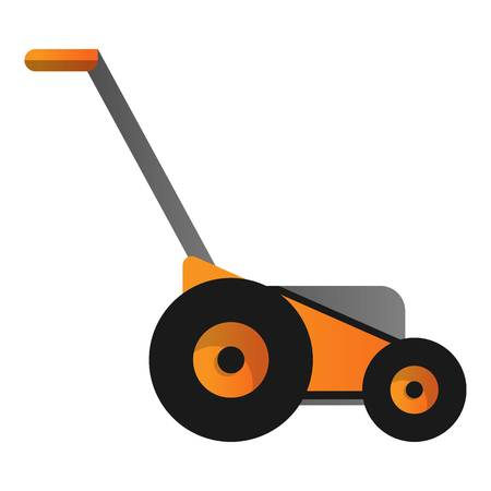 Orange lawnmower icon. Cartoon of orange lawnmower icon for web design isolated on white background Banque d'images - 114371264