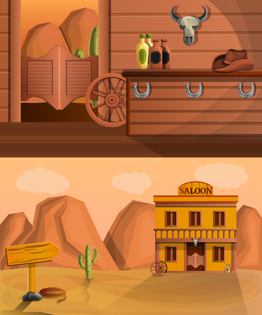 Saloon banner set. Cartoon illustration of saloon banner set for web design Stock Photo