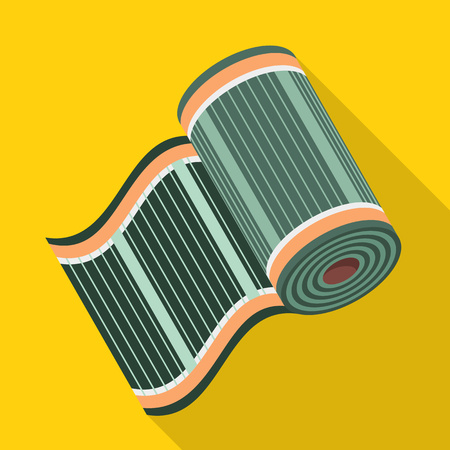 Rolled heater floor icon. Flat illustration of rolled heater floor vector icon for web design