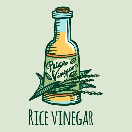 Icono de vinagre de arroz. Ilustración de dibujado a mano de icono de vector de vinagre de arroz para diseño web