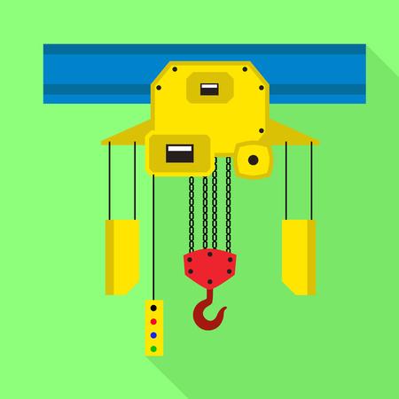 Factory move crane icon. Flat illustration of factory move crane vector icon for web design Illustration