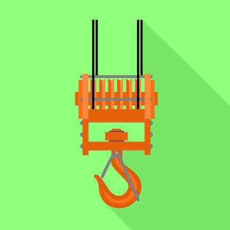 Icono de grúa de gancho. Ilustración plana del icono de vector de grúa de gancho para diseño web