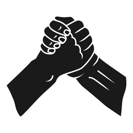 Icona della stretta di mano fraterna. Semplice illustrazione della stretta di mano fraterna icona vettoriali per il web design isolato su sfondo bianco Vettoriali