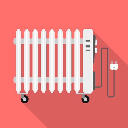 Symbol für den Heizkörper der Ölheizung. Flache Illustration der Vektorikone des Ölheizungsheizkörpers für Webdesign