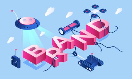 Smart device brand banner. Isometric illustration of smart device brand vector banner for web design