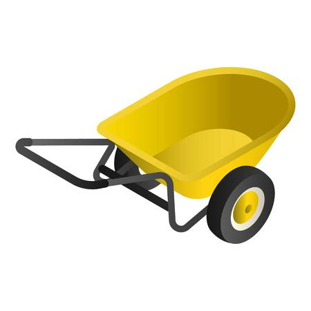 Yellow wheelbarrow icon. Isometric of yellow wheelbarrow vector icon for web design isolated on white background