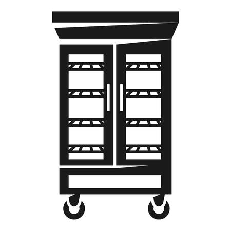 Refrigerator with glass doors icon. Simple illustration of refrigerator with glass doors vector icon for web design isolated on white background Illustration