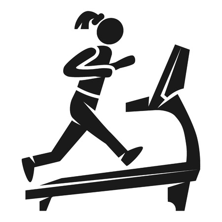 Girl on treadmill icon. Simple illustration of girl on treadmill vector icon for web design isolated on white background Illustration