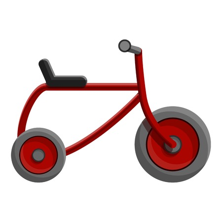 Red tricycle icon. Cartoon of red tricycle vector icon for web design isolated on white background