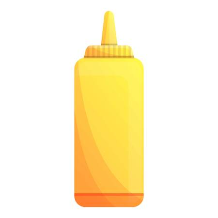 Mustard plastic bottle icon. Cartoon of mustard plastic bottle vector icon for web design isolated on white background