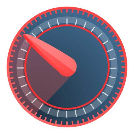 Red blue speedometer icon. Cartoon of red blue speedometer vector icon for web design isolated on white background