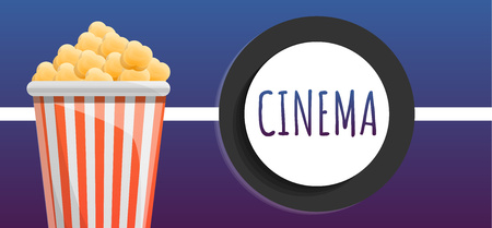 Cinema popcorn bucket concept banner. Cartoon illustration of cinema popcorn bucket vector concept banner for web design