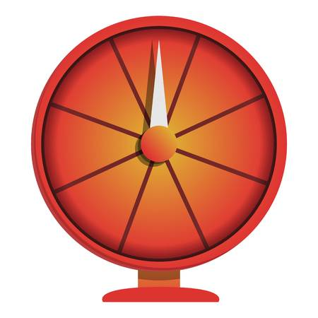 Red wheel fortune icon. Cartoon of red wheel fortune vector icon for web design isolated on white background