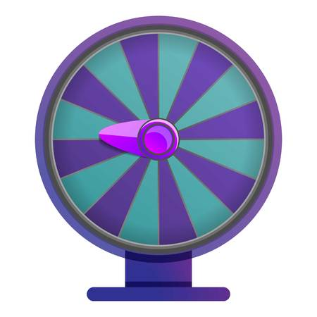 Purple blue wheel fortune icon. Cartoon of purple blue wheel fortune vector icon for web design isolated on white background