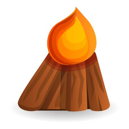 Boy scout campfire icon. Cartoon of boy scout campfire vector icon for web design isolated on white background Ilustração