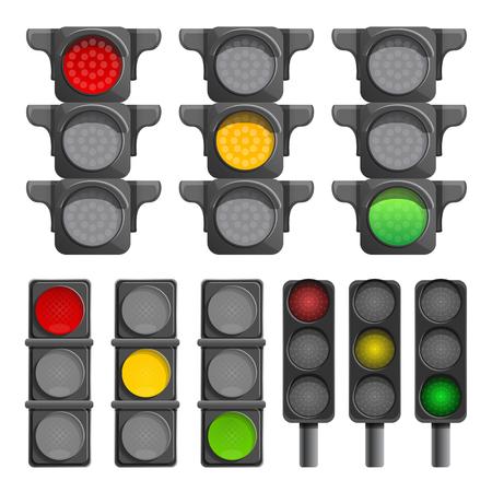 Traffic lights icon set. Cartoon set of traffic lights vector icons for web design