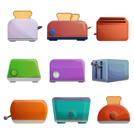 Toaster icon set. Cartoon set of toaster vector icons for web design