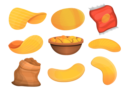 Chips potato icon set. Cartoon set of chips potato vector icons for web design