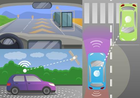 Driverless car banner set. Cartoon illustration of driverless car vector banner set for web design