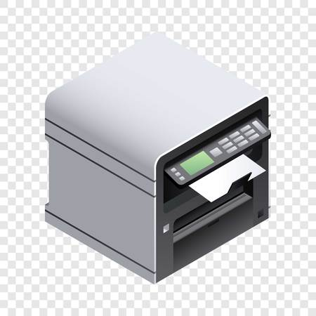 Office printer icon. Isometric of office printer icon for web design