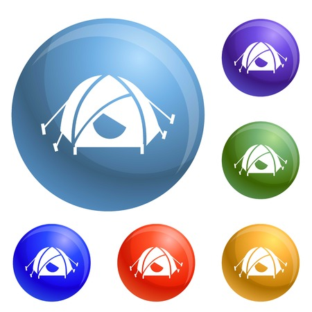 Mountain climb tent icons set 6 color isolated on white background Stock Photo
