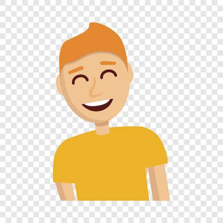 Boy laugh icon. Cartoon of boy laugh icon for web design