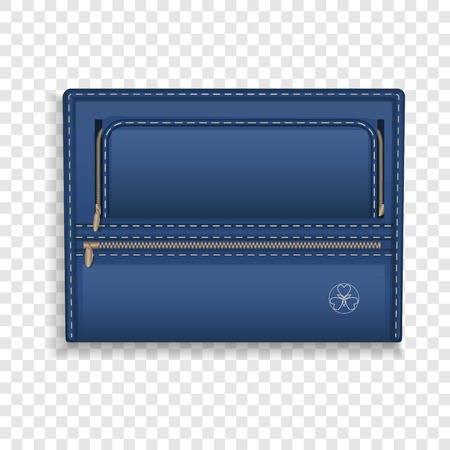 Blue leather folder icon. Realistic illustration of blue leather folder icon for web design Stock Photo