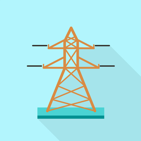 Electric tower icon. Flat illustration of electric tower icon for web design