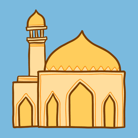 Arab mosque icon. Hand drawn illustration of arab mosque icon for web design Stock Photo