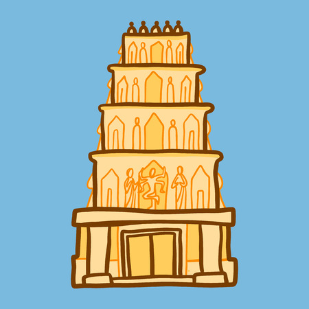 Indian temple icon. Hand drawn illustration of indian temple icon for web design
