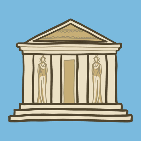 Greek temple icon. Hand drawn illustration of greek temple icon for web design Stock Photo